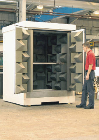 man in front of double door to small anechoic chamber