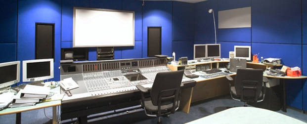 Studio with control panel and blue colour on the walls